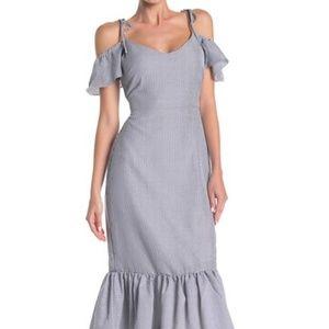NWT WAYF Stripe Print Tiered Ruffle Midi Dress